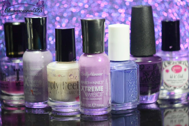 Duri Rejuvacote, Sally Hansen Xtreme Wear Lacey Lilac, Bliss Kiss Simply Peel Latex Barrier, Sally Hansen Xtreme Wear Violet Voltage, Essie Suite Retreat, O.P.I. Vant To Bite My Neck?, Glisten & Glow HK Girl Fast Drying Top Coat