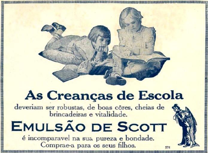 Propaganda antiga do Emulsão de Scott em 1921 com recomendação para crianças em fase escolar
