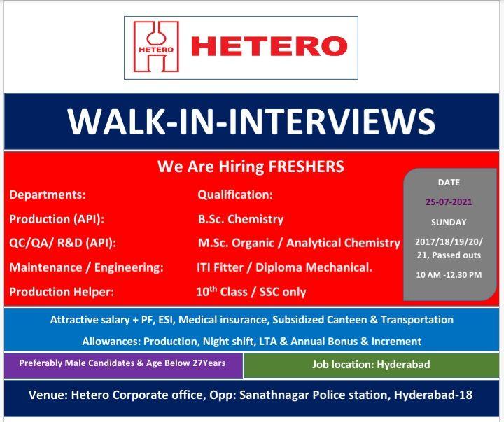 Hetero Pharma Recruitment 10th, 12th, BSC, MSC, ITI, Diploma Freshers For Production, QA, QC, R&D, Engineering, Maintenance Departments