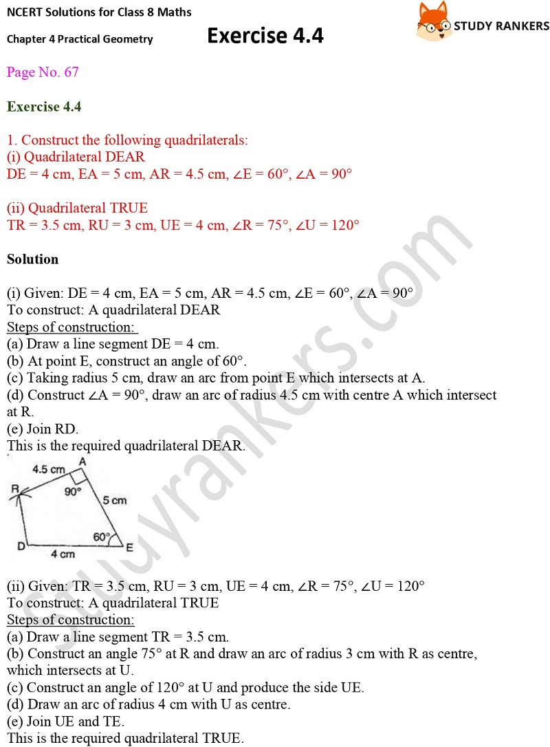 NCERT Solutions for Class 8 Maths Ch 4 Practical Geometry Exercise 4.4