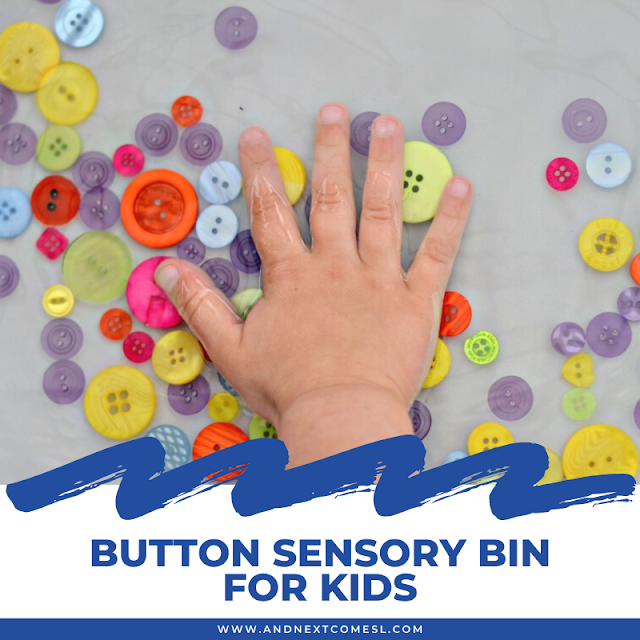Button sensory bin with water for toddlers and preschoolers