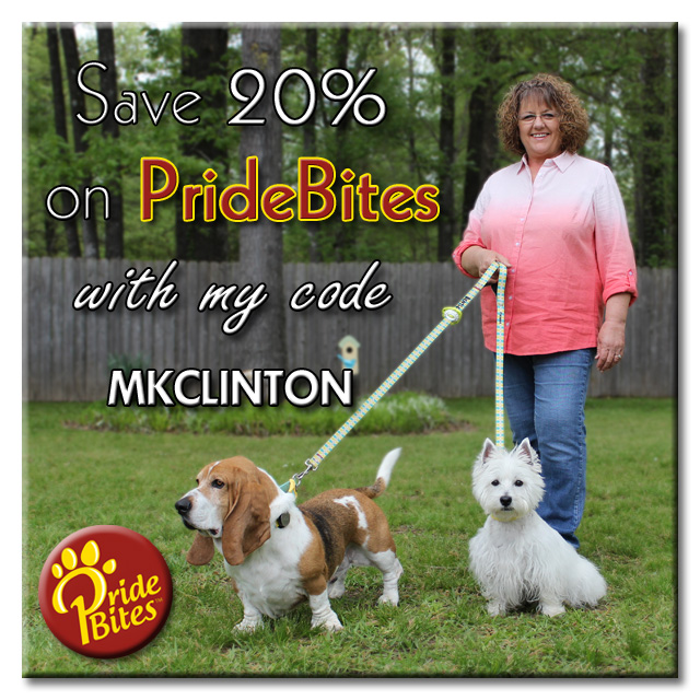 M. K. Clinton with Basset Hound and Westie. PrideBites PAWtner code
