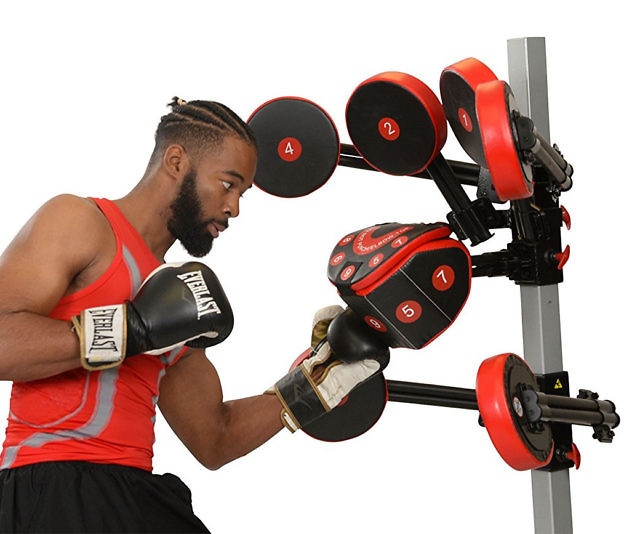 Get yourself in fighting shape from the comfort of home by incorporating the FightMaster boxing trainer into your workout routine. It comes with numbered target pads that allow you to practice any number of punch combinations.