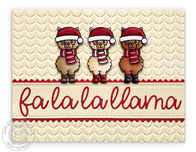 Sunny Studio Stamps Alpaca Holiday Fa La La Llama Ivory Christmas Card (using Cable Knit embossing folder)