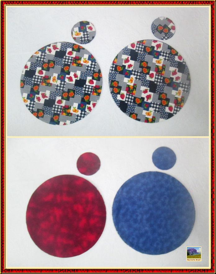 Conjunto de sousplat e porta copo forrados com tecido 2