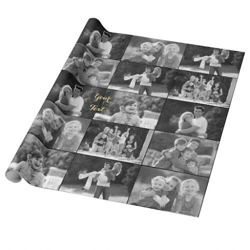Create Vintage Look Black and White 6 Photo Collage Wrapping Paper