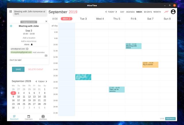 MineTime desktop calendar Linux