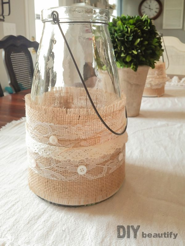 Burlap and lace wrapped jars! So timeless and easy to make. Get the tutorial at diy beautify.