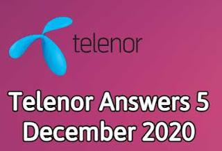 5 December Telenor Quiz | Telenor Answers 5 December 2020