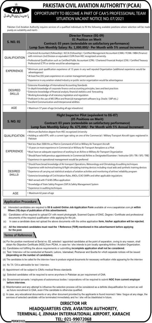 JOBS | Pakistan Civil Aviation Authority (PCAA)