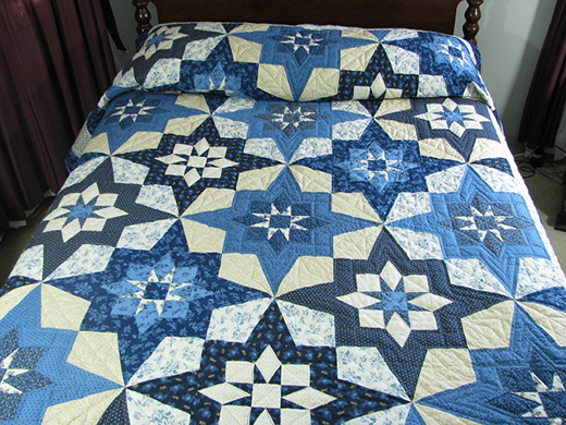 Blue Northern Star Quilt designed by Wendy Sheppard for Windham Fabrics