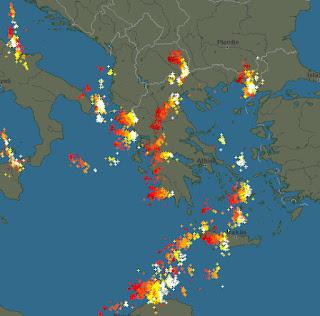 Καταιγίδα αυτή την ώρα στην Πιερία.