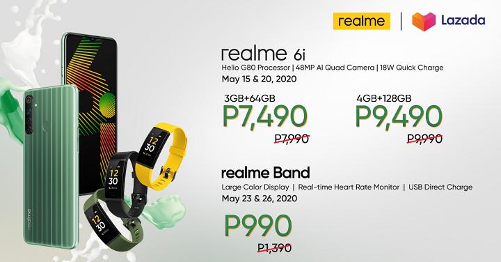 Realme 6i, Realme Band Fitness Tracker Flash Sale at Lazada