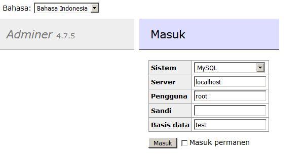 Remote Database Dengan Adminer - root93