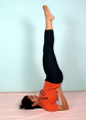 Yogacharya Pratishtha demonstrates Sarvangasana