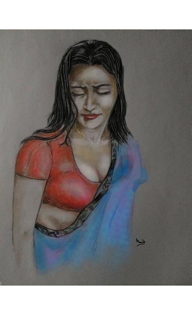A woman figure colour Pencil