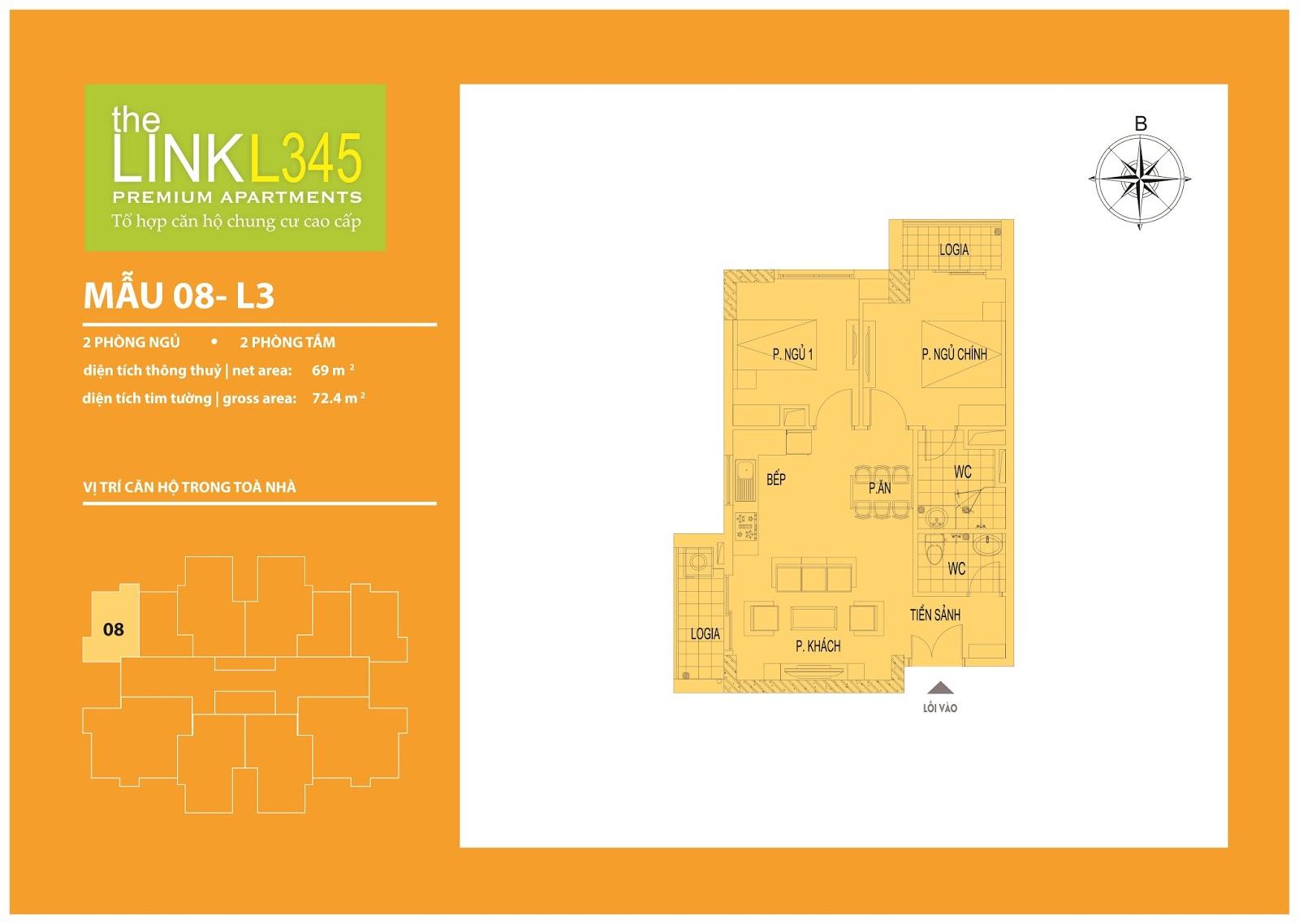 Mặt bằng chi tiết căn hộ 08 - L3 The Link