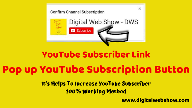 Popup YouTube Subscription Link