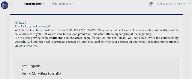 Joracon email offer to post fake comments