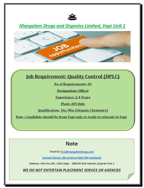 Mangalam Drugs and Organics Ltd Urgent Openings for Quality Control Department Apply Now