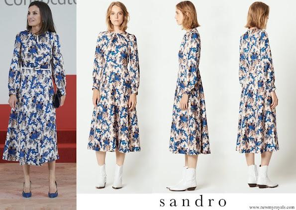 Queen Letizia wore Sandro All-over-print Long Silk Dress