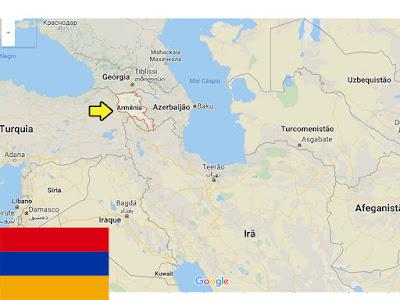 Localização da Armênia no mapa.