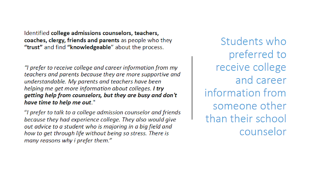 Quotes from students who preferred to receive college and career information from someone other than their school counselor