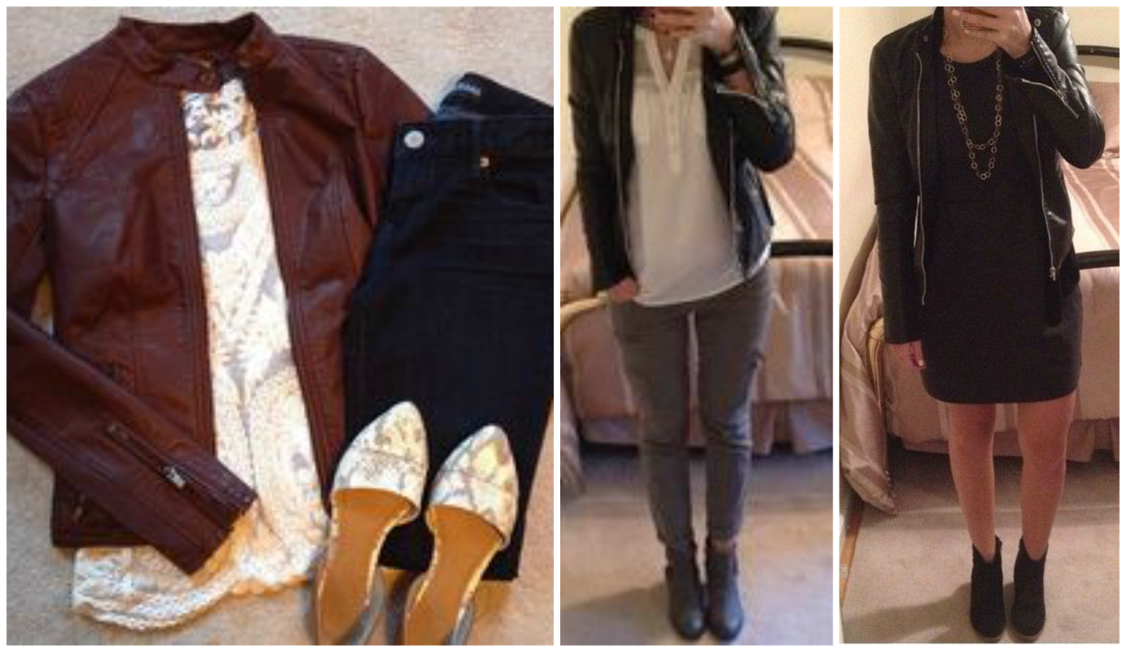 Leather jacket outfit ideas, Express Minus the Leather jacket