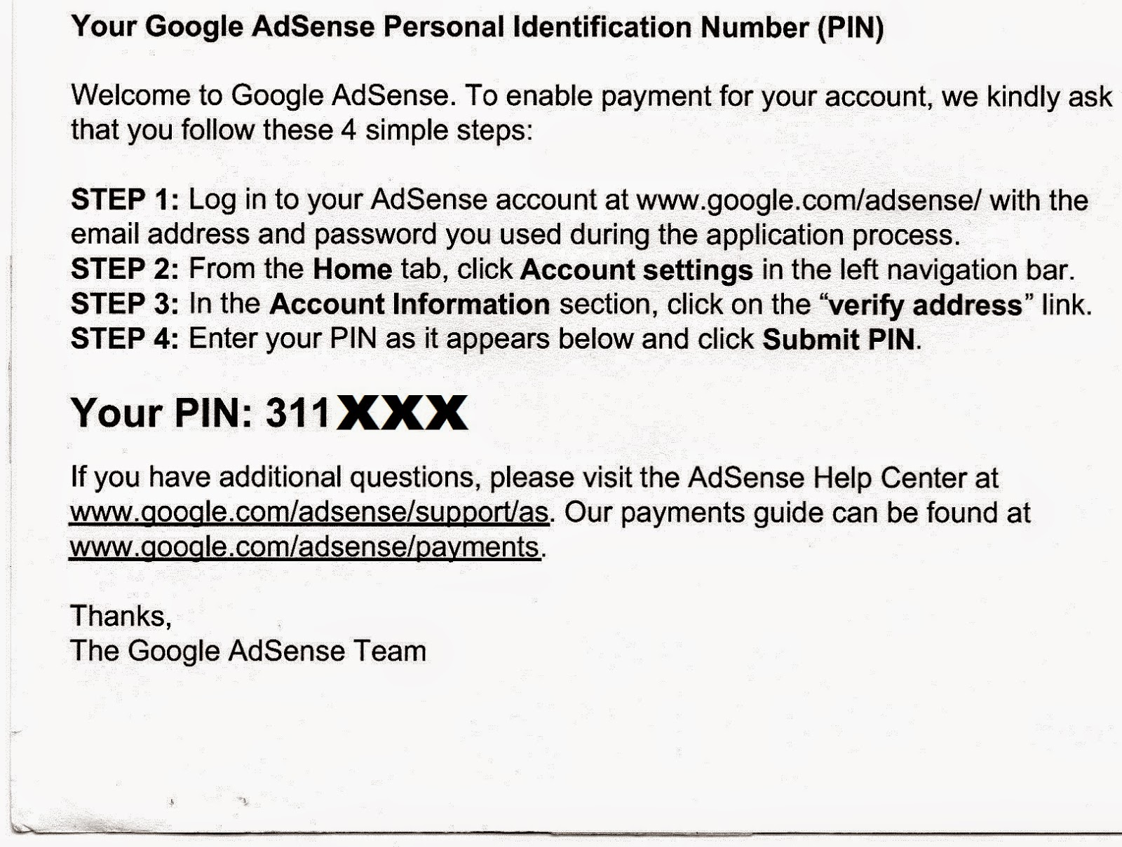 Surat Verifikasi PIN Google Adsense
