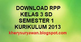 File Pendidikan Download RPP K13 Kelas 3 SD Semester 1 Lengkap Revisi Terbaru