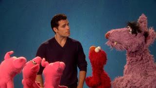 Henry Cavill, celebrity, three little pigs, Elmo, Big Bad Wolf, the Word on the Street Respect, Sesame Street Episode 4402 Don't Get Pushy season 44