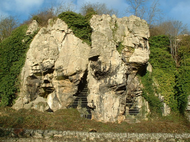 The entrance to one of the Cresswell Crag magnesian limestone caves
