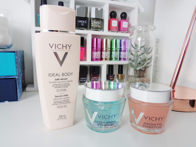 Vichy Ideal body Serum-milk and Quenching mineral & Double Glow Peel masks