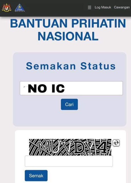 Semakan Duit Masuk Bantuan Prihatin Nasional 2020 Online