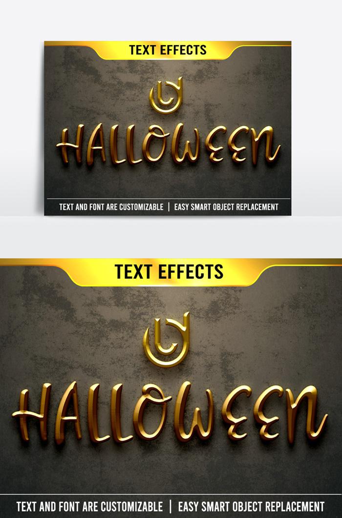Halloween Text Effect Text 3D Correction Psd Mockup Template