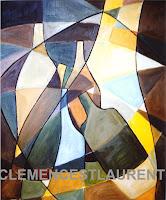 Gambade, 1965 - thème abstrait de bouteilles entrecroisées, par Clémence St-Laurent