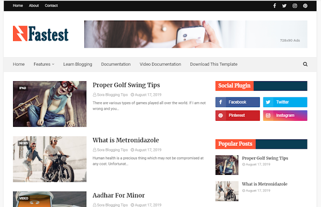 Fastest premium blogger template free download