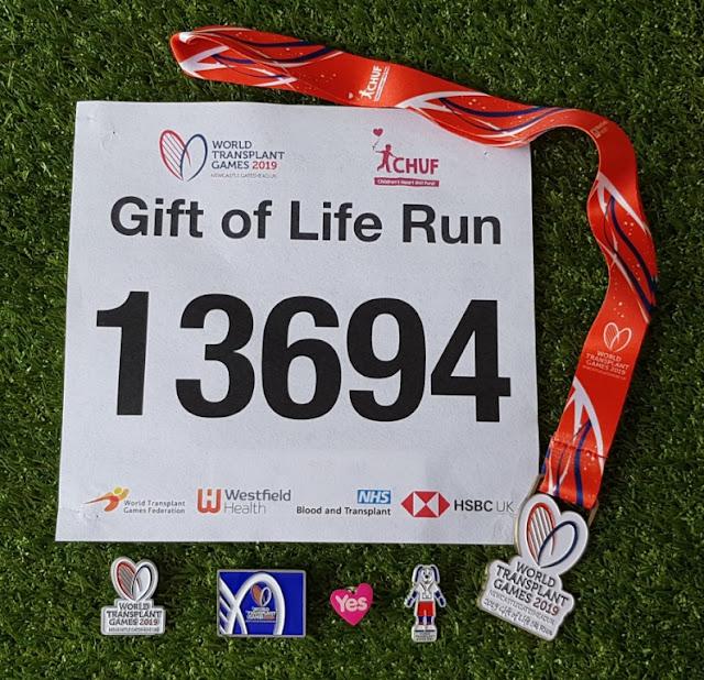 World Transplant Games badges and medal 2019