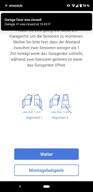 Sensormontage Refoss Garagentoröffner