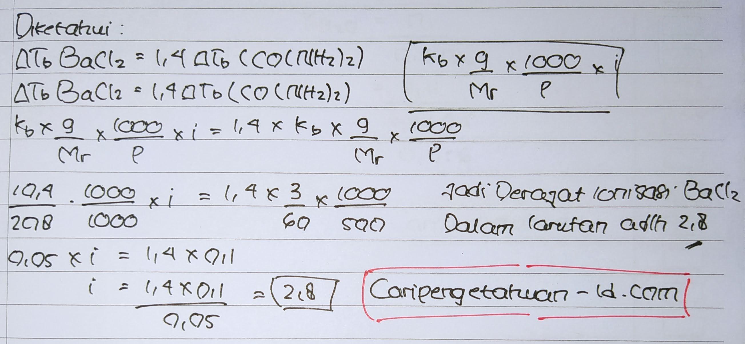 10,4 gram BaCl2 yang dilarutkan dalam 1000 gram air ternyata mempunyai kenaikan titik didih 1,4 kali kenaikan titik didih 3 gram urea (CO(NH2)2) yang dilarutkan dalam 500 gram air. Derajat ionisasi BaCl2 dalam larutan adalah …. (Mr BaCl = 208, urea = 60)