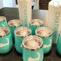 monogrammed Corksicle stemless wine coolers, Chatham Threadworks, personalized gifts
