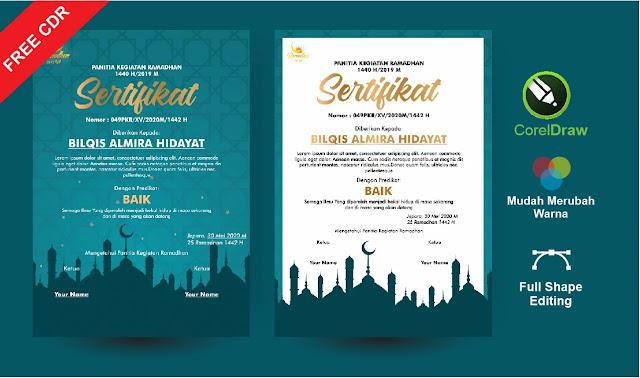 Sertifikat pesantren Ramadhan CorelDraw