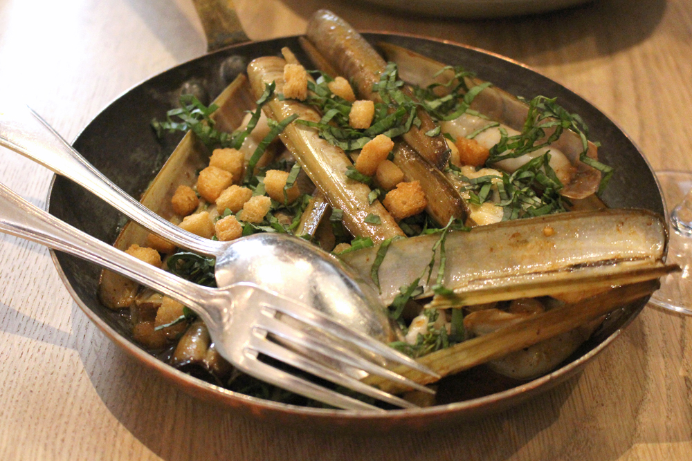 Razor clams with croutons for aperitif at Club Marot, Lille - restaurant & travel blog