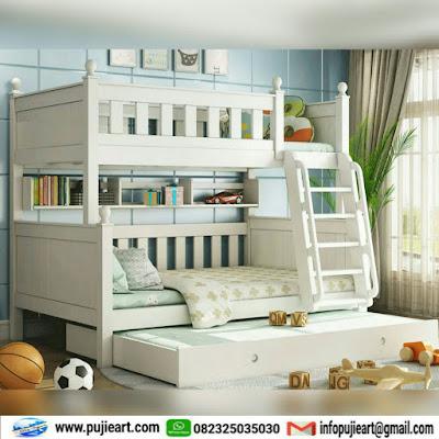 Tempat tidur tingkat warna putih murah