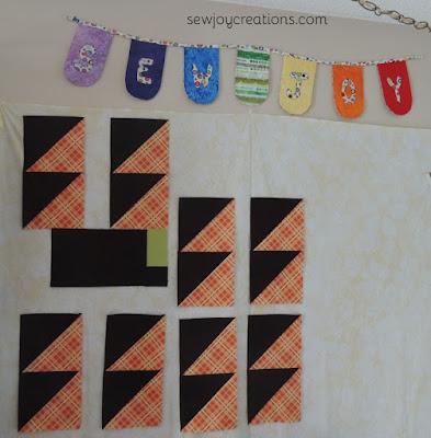 half square triangle blocks halloween colors