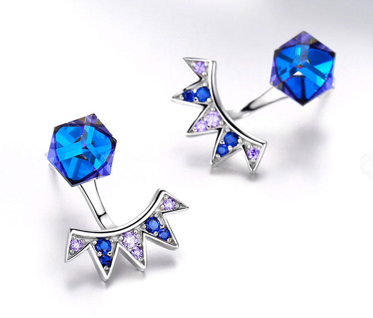 極光奧地利水晶 925純銀耳環