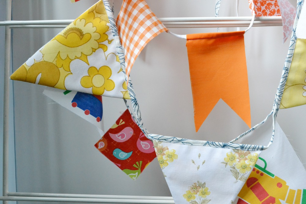 upcycled bunting vintage fabric charity shop