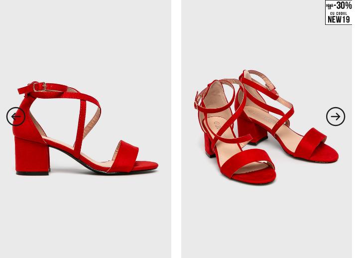 Answear - Sandale Laura Mode rosii cu toc gros
