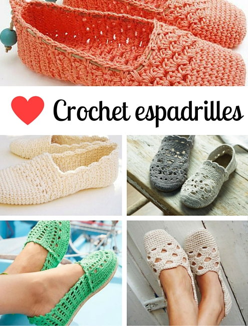 Crochet espadrilles, crochet patterns | Happy in Red