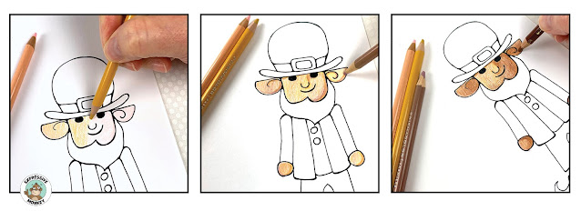 Step by step demo on how to draw a leprechaun.